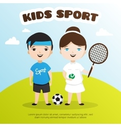 Cute cartoon style kids sports vector