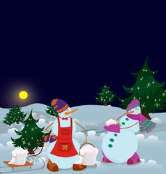 Snowmen are getting diner banner vector image