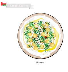 Hummus or omani chickpeas spread dip or spread vector