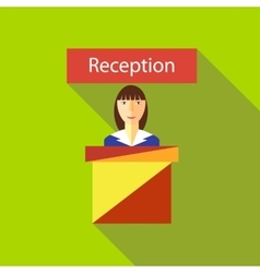 Reception in hotel icon flat style vector