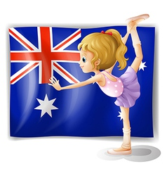 A young girl dancing in front of the Australian vector image