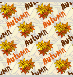 Autumn seamless pattern with lettering season vector
