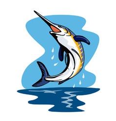 Blue marlin fish jumping retro vector