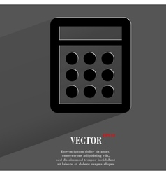 calculator Flat modern web button with long shadow vector image