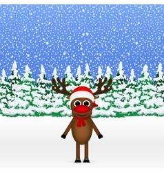 Christmas cartoon reindeer standing vector image vector image