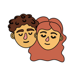 Couple lover head with closed eyes and hairstyle vector