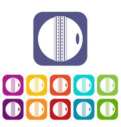 Cricket ball icons set flat vector