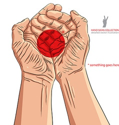 Cupped empty hands with place for some small vector image vector image