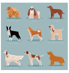 Dog flat icons set vector