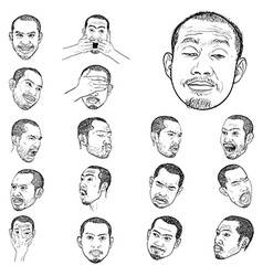 Drawing set of young asian mans portraits vector image vector image