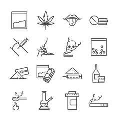 Drugs line icon set vector