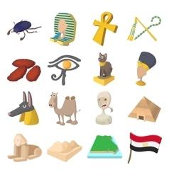Egypt icons cartoon vector