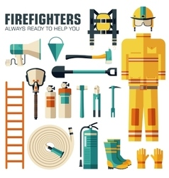 Flat firefighter uniform and first help equipment vector