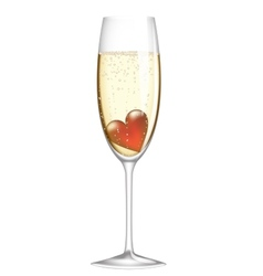 glass of champagne with heart vector image