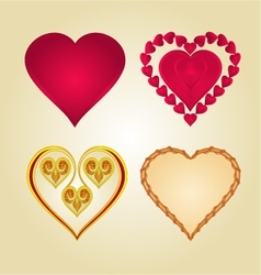 Hearts of various shapes set vintage vector image vector image