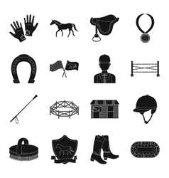 Hippodrome and horse set icons in black style big vector