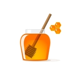 Honey jar with wooden dipper pot and vector