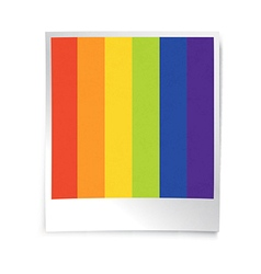 Instant blank photo template with rainbow picture vector