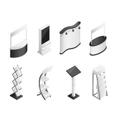 Isometric gradient exhibition stands icons set vector