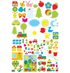 Kindergarten objects vector image vector image