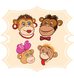 monkey family vector image vector image