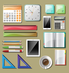 office tools and devices set vector image vector image