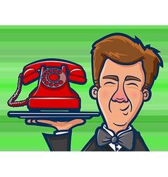 Phone butler cartoon vector
