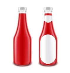 Set of glass red ketchup bottle without with label vector