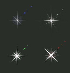 set of sparkle lights glowing light effect in vector image vector image