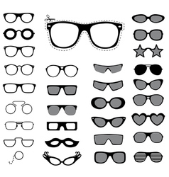 Set of sunglasses and glasses vector