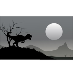 Silhouette of allosaurus with moon vector
