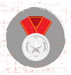 Silver medal with star and red banner icon with vector