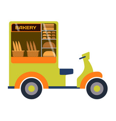 Street food festival bakery trailer vector