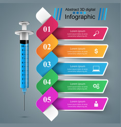 syringe icon 3d medical infographic vector image