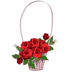 Wicker floral basket with red roses vector image vector image