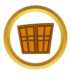 Wooden double doors icon cartoon style vector