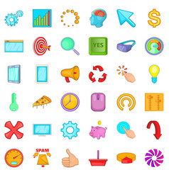 Work vacation icons set cartoon style vector