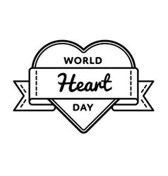 world heart day greeting emblem vector image vector image