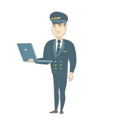 Young caucasian pilot using a laptop vector