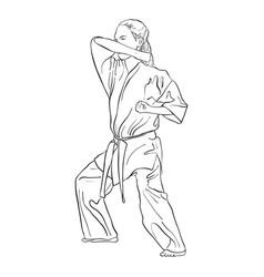 young karate girl vector image