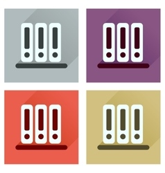 Concept of flat icons with long shadow folder vector
