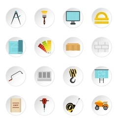 Building equipment icons set flat style vector image