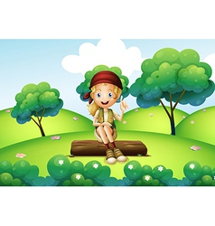 A girl sitting on the trunk at the hill vector