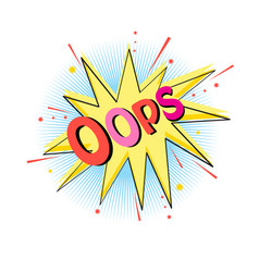 Lettering oops emotion blame curiosity vector