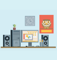 Flat design of modern office interior with vector