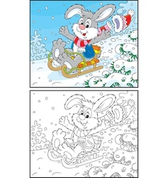 Rabbit sledding vector