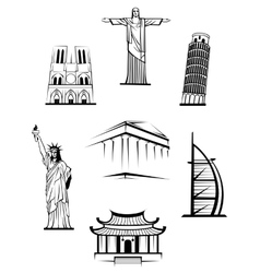 Famous travel landmarks vector