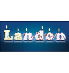 LANDON written with burning candles vector image