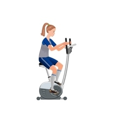 Girl and stationary bicycle vector