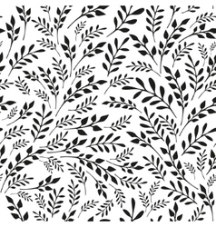 Seamless floral black and white background vector